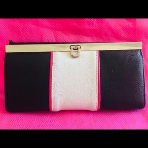 NWOT women's black white & pink clutch/wallet